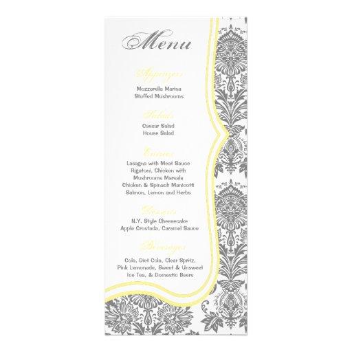 25 Menu Cards Gray Yello Damask Lace Print Pattern Customized Rack Card
