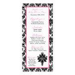 25 Menu Cards Hot Pink Black Damask Rack Card Design