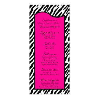 25 Menu Cards Hot Pink Zebra Print Personalized Rack Card
