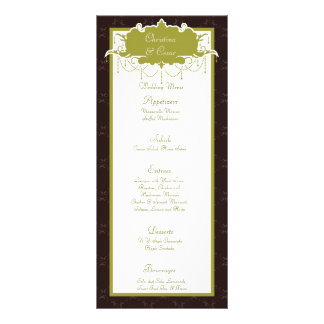 25 Menu Cards Light/Olive Green Chandelier Brown O Personalized Rack Card