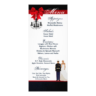 25 Menu Cards Marine Hispanic Uniform Groom Bride