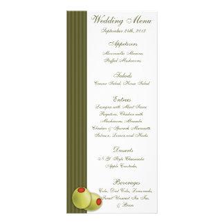 25 Menu Cards Martini Olives Green Stripes whimsic Full Color Rack Card