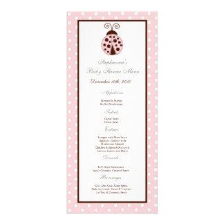 25 Menu Cards Pink Ladybug