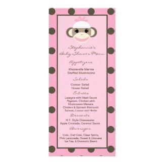 25 Menu Cards Pink Sock Monkey