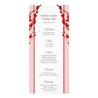 25 Menu Cards Red Cherry Blossom