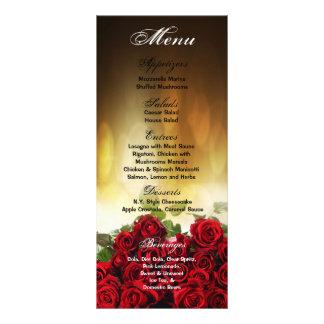 25 Menu Cards Red Rose Bouquet Bridal Flower Flora Rack Card