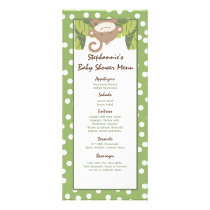 25 Menu Cards Safari Jungle Monkey Green
