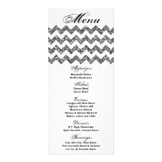 25 Menu Cards Silver Glitter Chevron Zig Zag Print