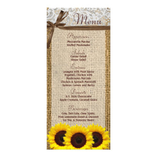 25 Menu Cards Sunflower Lace Burlap Country Rustic