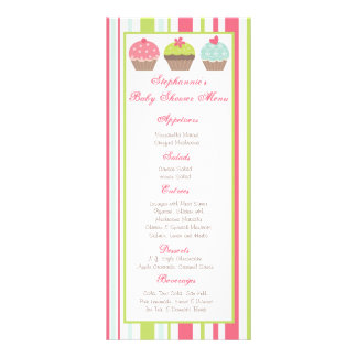 25 Menu Cards Tea Party Pink Pastel Cupcake