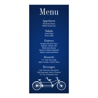 25 Menu Cards Whimsical Navy Blue Double Bike Rack Card Template