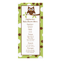 25 Menu Cards Woodland Friends Owl