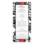 25 menú floral negro/rojo del boda del damasco lonas