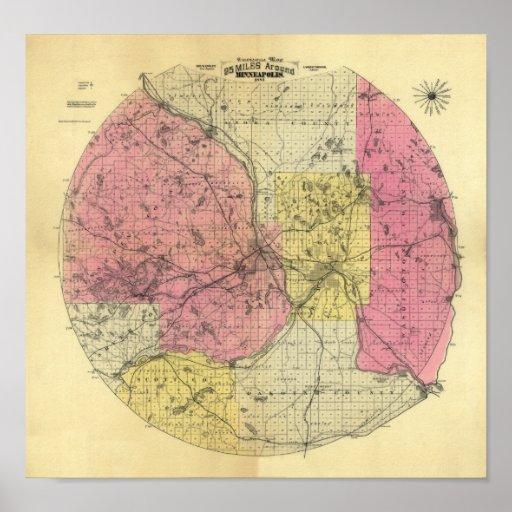 25 Miles Around Minneapolis - 1881... - Customized Poster