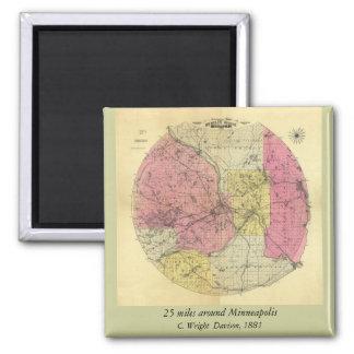 25 millas alrededor de Minneapolis - mapa 1881 Iman Para Frigorífico