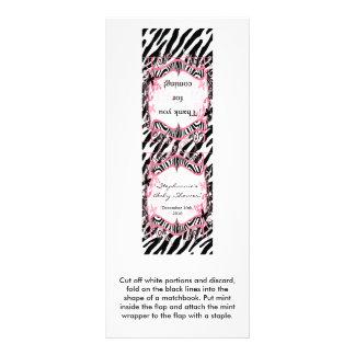 25 Mint Matchbooks Girly Butterfly Zebra Print Rack Card Design