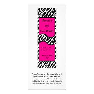 25 Mint Matchbooks Hot Pink Zebra Print Custom Rack Cards