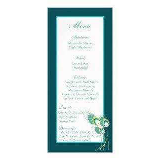 25 Modern Teal Peacock Wedding Menu Tags Rack Cards