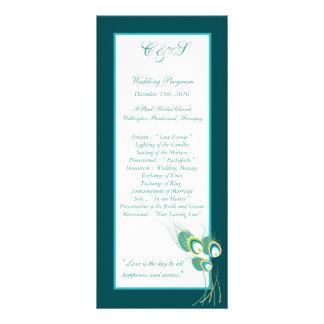 25 Modern Teal Peacock Wedding Programs Full Color Rack Card