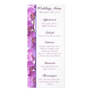 25 orquídeas púrpuras de las tarjetas del menú en  diseño de tarjeta publicitaria