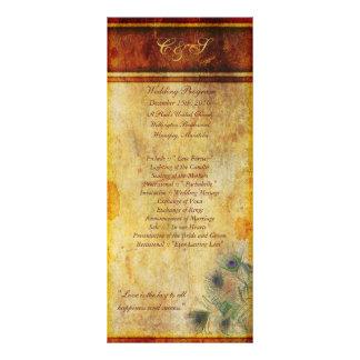 25 Peacock Feather Wedding Programs Rack Card Design