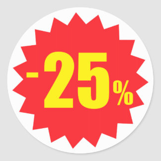 25 percent sale discount stickers, white and red classic round sticker