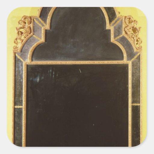 25: Pierglass del giltwood de la reina Anne Pegatina Cuadrada