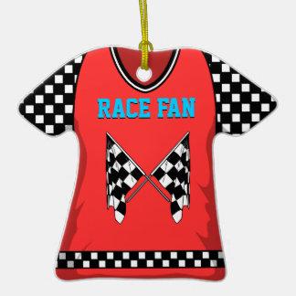 #25 rojo/azul de la bandera de la raza ornamento de navidad