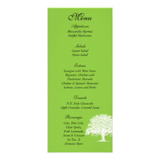 25 Spring Tree Green/White Wedding Menu Tags Full Color Rack Card