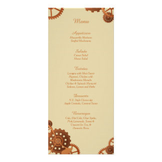 25 Steampunk Cogs and Gears Wedding Menu Cards