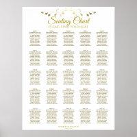 25 Table Elegant Gold Wedding Seating Chart