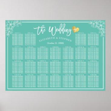 McTiffany Tiffany Aqua 25 Tables Teal White Floral Wedding Seating Chart
