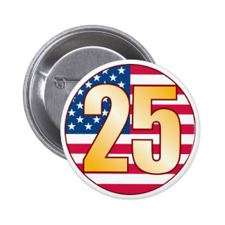 25 USA Gold Pinback Button