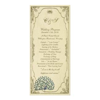 25 Vintage Peacock Wedding Programs Rack Card Design