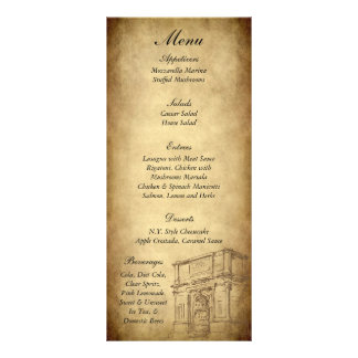 25 Wedding in Rome Menu Tags Personalized Rack Card