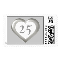 25 white and silver glass heart silver anniversary postage