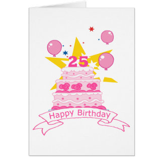 25 Year Old Birthday Cake Card