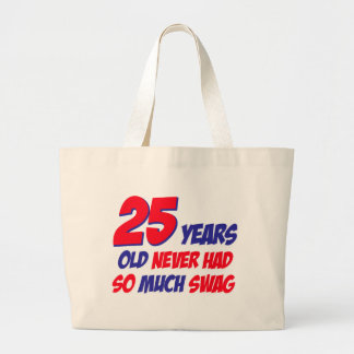 25 year old birthday design large tote bag