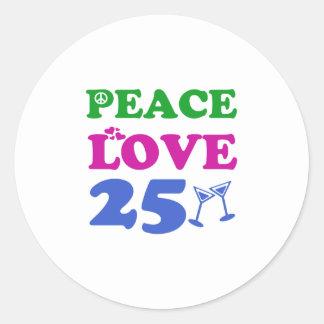 25 year old designs classic round sticker
