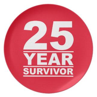 25 year survivor melamine plate