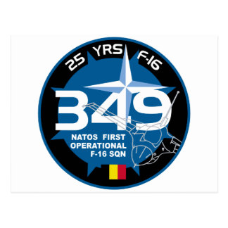 25 Years 349 Nato First Operational F-16 SQN Patch Postcard
