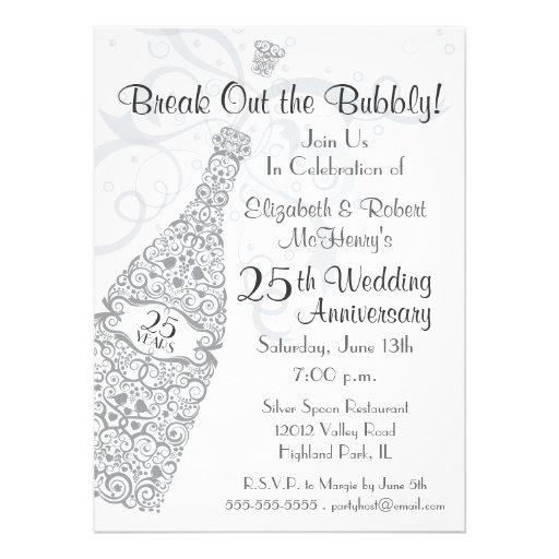 25 Years Champagne Celebration Personalized Invite