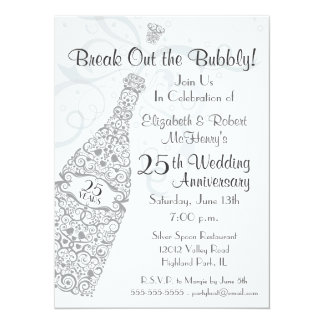 25 Years Champagne Celebration Personalized Invite