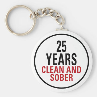 25 Years Clean and Sober Keychain