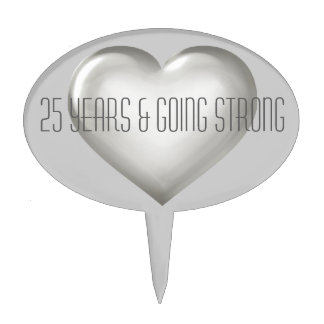 25 Years & Going Strong Silver Glass Heart Cake Topper