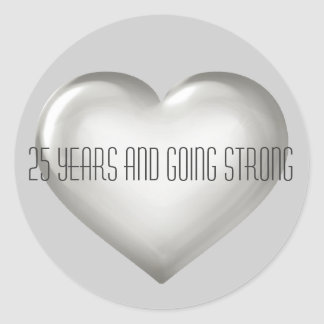 25 Years & Going Strong Silver Heart Anniversary Classic Round Sticker