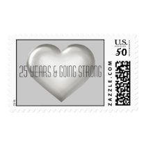 25 Years & Going Strong silver heart anniversary Postage