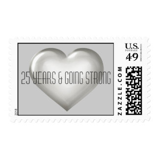 25 Years & Going Strong silver heart anniversary Postage Stamp