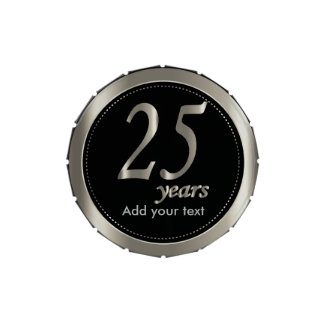 25 Years in Black and Metallic Silver   25th Jelly Belly Candy Tins