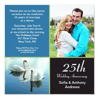 """25 years photo anniversary invitation 5.25"""" square invitation card"""